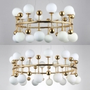 Contemporary Crown Shape Chandelier 16/24 Lights Metal Milk Glass Hanging Light in Gold for Bedroom