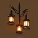 Branch Shape Cafe Pendant Light Wrought Iron 3 Lights Retro Loft Chandelier in Black Finish