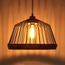 Dome Caged Restaurant Hanging Light Metal One Light Vintage Stylish Hanging Lamp in Black