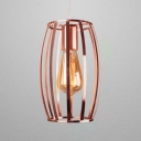 Restaurant Kitchen Curved Cage Pendant Light Metal One Light Creative Hanging Lamp in Rose Gold