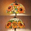 Stained Glass Sunflower Table Light Two Lights Rustic Tiffany Table Lamp with Plug-In Cord for Bedroom