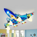 Cartoon Airplane LED Flush Ceiling Light Glass Wood Ceiling Lamp in Blue for Boys Bedroom