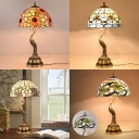 Two Lights Peacock Table Light Rustic Tiffany Stained Glass Table Lamp for Living Room