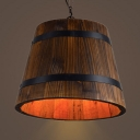 American Rustic Bucket Pendant Light Wood Single Light Brown Hanging Light for Restaurant Hallway