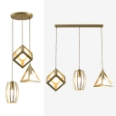 Metal Linear/Round Canopy Pendant Lamp Corridor Three Lights Creative Hanging Light in Gold