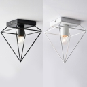 Antique Black/White Flush Mount Light Triangle Wire Frame 1 Light Iron Ceiling Fixture for Restaurant