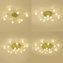 Metal Twist Arm Ceiling Fixture 8/12/16/20 Lights Creative LED Semi Flushmount Light in Gold for Living Room