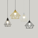 Diamond Caged Cafe Hanging Light Metal 1 Light Industrial Vintage Pendant Lamp in Black/Gold/White