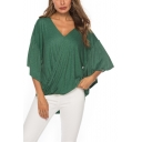 Womens Stylish Simple Plain Ruffled Sleeve V-Neck Twist Hem Casual Loose T-Shirt