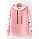 Girls Cute Cartoon Printed Long Sleeve Casual Sport Pullover Hoodie