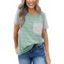 Summer New Stylish Striped Printed One Pocket Patched Casual Loose T-Shirt
