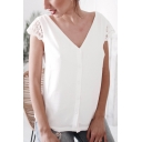 Summer White Chic Hollow Lace Patched Short Sleeve V-Neck Casual Simple Chiffon Blouse Top