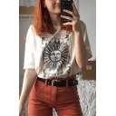 Summer Cool Unique Funny Cartoon Sun and Moon Print Apricot Casual Tee