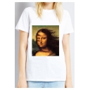 Funny Mona Lisa Pattern Round Neck Short Sleeve Relaxed Fit White Tee