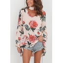 Unique Halter V-Neck Long Sleeve Chic Floral Printed Loose Fit Blouse Top