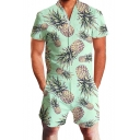 Fashion Summer Tropical Pineapple Plants Pattern Zipper Front Short Sleeve Beach Rompers Shorts