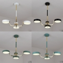 Contemporary Round Pendant Lamp Acrylic 3 Lights Black/White/Green Chandelier in Warm for Dining Room