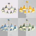 Macaron Color Trapezoid Chandelier 8 Lights Contemporary Metal Ceiling Light for Dinging Room