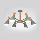 Horn Shape Bedroom Ceiling Light Metal 6 Lights European Style Chandelier in Green