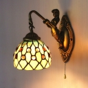 1 Light Dome Wall Sconce Tiffany Style Glass Wall Light with Pull Chain & Mermaid for Living Room