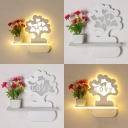 White Cartoon Tree LED Sconce Light Cute Acrylic Sconce Light with Shelf & Vase for Kid Bedroom