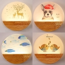 Child Bedroom Round Sconce Light Wood Lovely Colorful Wall Lamp with Animal Pattern