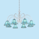 Dining Room Cone Chandelier Glass 8 Lights Mediterranean Style Blue Hanging Light
