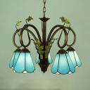 Tiffany Style Cone Chandelier Glass 5 Lights Blue Pendant Lighting with Leaf for Dining Room