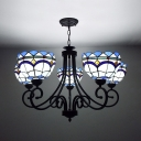 Stained Glass Domed Hanging Light Living Room Villa 5 Lights Tiffany Style Chandelier