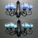 Dining Room Craftsman Pendant Lamp Stained Glass 6 Lights Mediterranean Style Dark Blue/Sky Blue Chandelier
