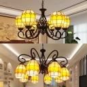 Brown Curved Suspension Light 6/8 Lights Tiffany Style Stained Glass Chandelier for Bar Coffee Shop