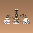 Stained Glass Domed Hanging Light Bedroom Study Room 3 Lights Tiffany Style Vintage Chandelier