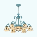 Tiffany Style Rustic Pendant Light Dome & Cone 9 Lights Glass Metal Chandelier for Dining Room