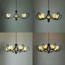 Beige Cone Suspension Light 3/5/6/8 Lights Tiffany Style Rustic Glass Chandelier with Leaf for Home