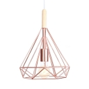 Rose Gold Wire Frame Ceiling Light 1 Light Rustic Style Metal Hanging Light for Restaurant