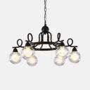 Industrial Orb Shade Chandelier 6/8 Lights Metal Pendant Light in Black for Living Room