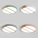 Bedroom Slim Panel Flush Mount Light Acrylic Wood Macaron Loft Gray/Green/Pink/White Ceiling Light