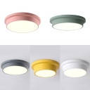 Third Gear Round LED Flush Ceiling Light Simple Style Acrylic Flush Mount Light for Child Bedroom