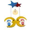 Cute Colorful LED Pendant Light Mood Child 3 Heads Wood Hanging Lamp for Boy Girl Bedroom