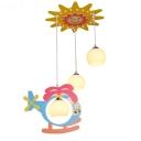 Colorful Helicopter Sun Suspension Light 3 Lights Lovely Wood Glass LED Ceiling Pendant for Kindergarten