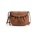 Stylish Solid Color Large Capacity Drawstring Crossbody Bag 24*19*3 CM