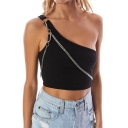 Girls Unique One Shoulder Sleeveless Plain Chain Embellished Summer Cami Top