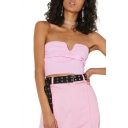 Hot Fashion Plain Summer Girls Pink Crop Bandeau Top