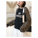 IM-PEREECT Letter Print Leopard Patched Long Sleeve Round Neck Loose Fit Pullover Sweatshirt for Women