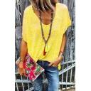 New Trendy V-Neck Short Sleeves Simple Plain Summer T-shirt For Women