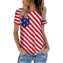 Women's Hot Fashion Round Neck Short Sleeve Stripes Print Stars Pocket Patch T-Shirt