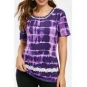 Summer Hot Fashion Round Neck Short Sleeve Tie-dye Print Loose T-Shirt For Women