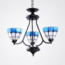 Mediterranean Style Dome Chandelier Glass 3 Lights Blue Suspension Light for Foyer