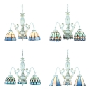 Nautical Cone/Dome Ceiling Lights 3 Lights Art Glass Chandelier in Blue for Bathroom