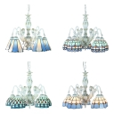 Tiffany Style Cone/Dome Chandelier Art Glass 5 Lights Blue Suspension Light for Dining Room